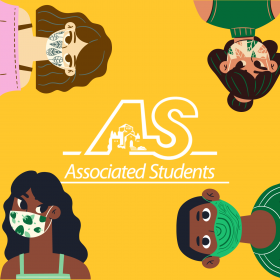 Square image with an A.S. symbol in the center of a yellow background with four faces wearing masks at each corner