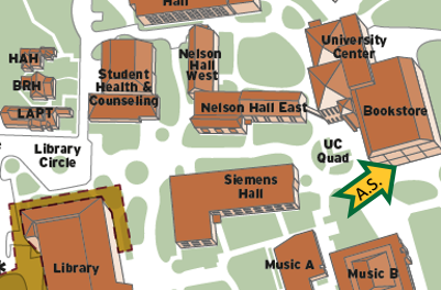 A.S. Office located by arrow on a snip of HSU's Campus Map