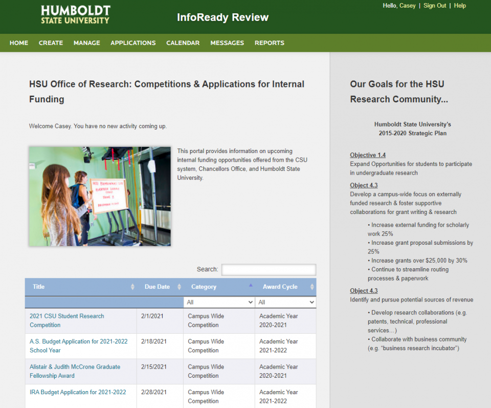 HSU InfoReady Review Front Page: Listing the HSU Office of Research: Competitions & Applications for Internal Funding including the A.S. Budget Application for 2021-2022 School Year