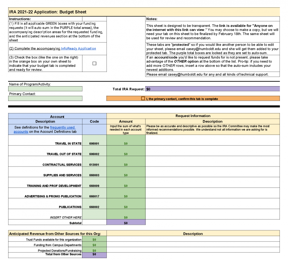 A.S. 2021-22 Application: Budget Sheet - Blank with Instructions, Notes