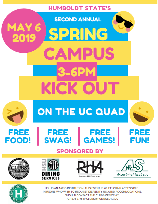 2nd Annual Spring Campus Kickout Monday May 6 from 3-6pm on the UC Quad