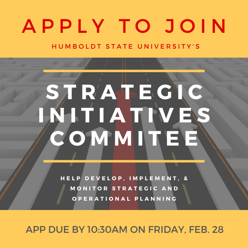 The President of HSU is making a call for members to serve on the Strategic Initiatives Committees