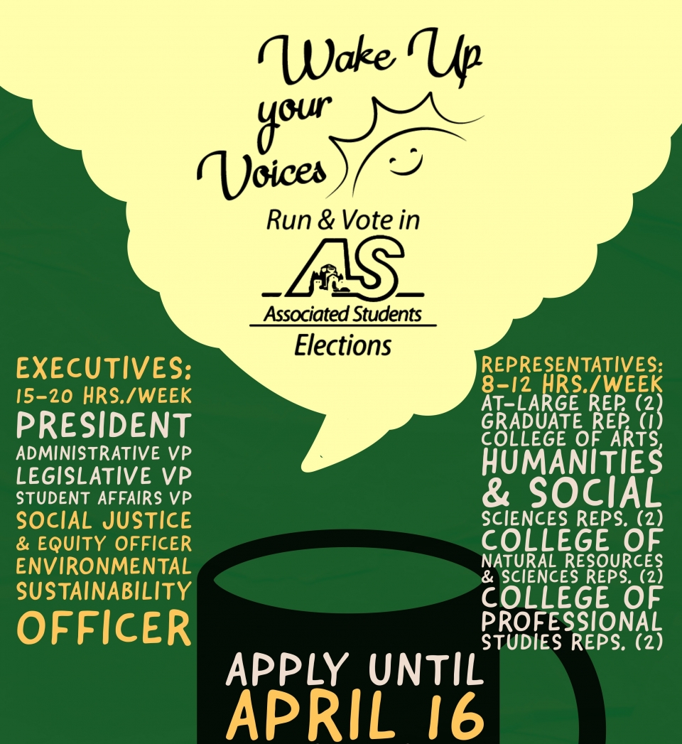 Wake Up Your Voices and Run for A.S. Elections! 15 positions open for elections: A.S. Executive Positions and Academic Representatives. Filing Period extended to be open until April 16th