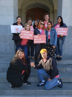 Nine HSU students (and one advisor) after the CSSA Rally on the State Capitol steps. At the rally, students from across the Cal State System advocated for legislators to fix financial aid so it acknolwedges the holistic costs of being a student