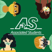 A.S. symbol on green background with four faces with masks at each corner