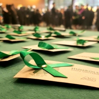 Green graduate pledge ribbons pinned to a card that graduates can keep with them to remember the HSU Graduation Pledge